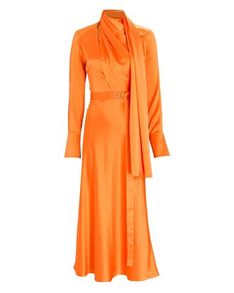 Charmeuse Scarf Neck Midi Dress, ORANGE, hi-res
