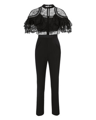 Fine Lace Paneled Jumpsuit, BLACK, hi-res