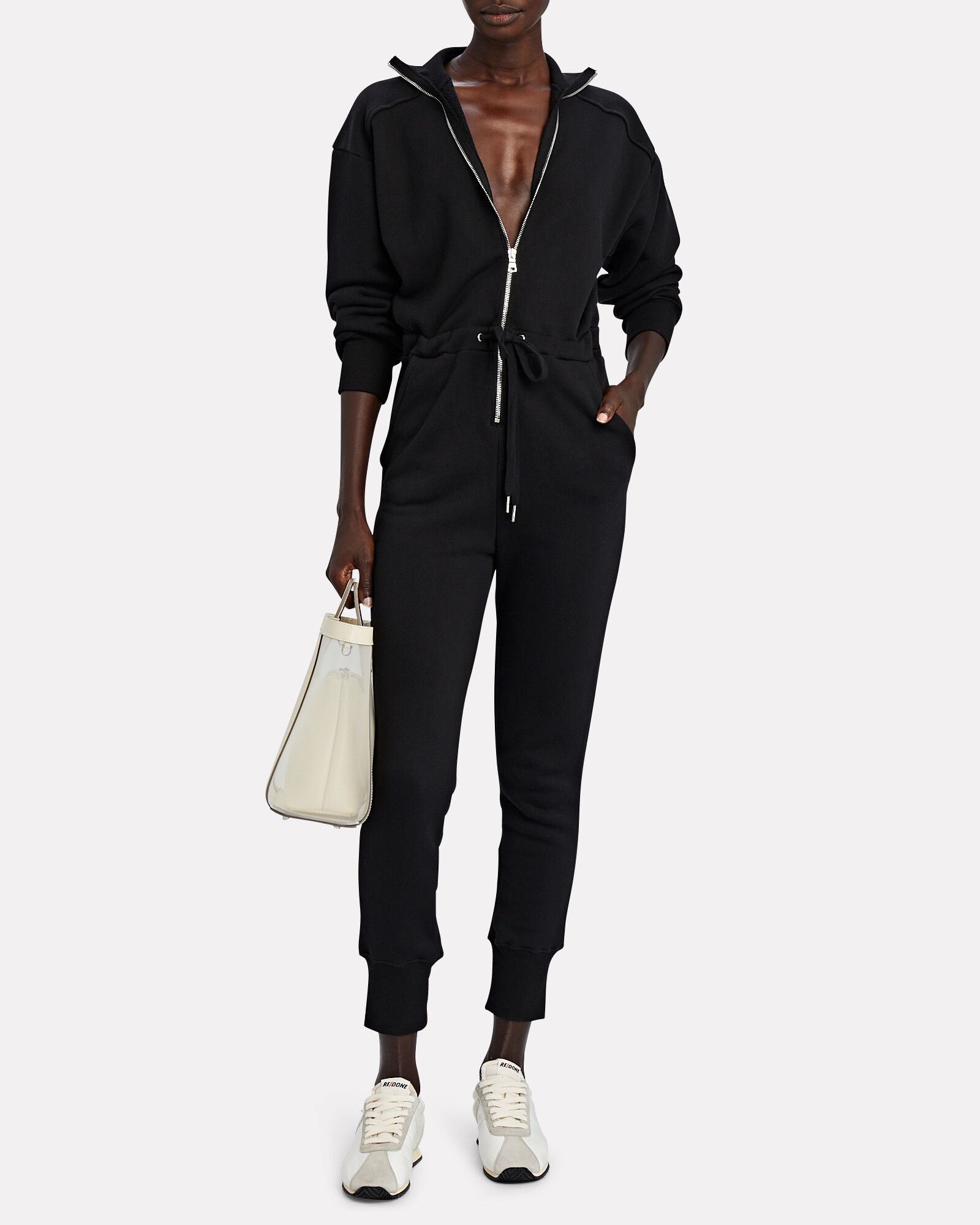 Red-Eye French Terry Jumpsuit, BLACK, hi-res