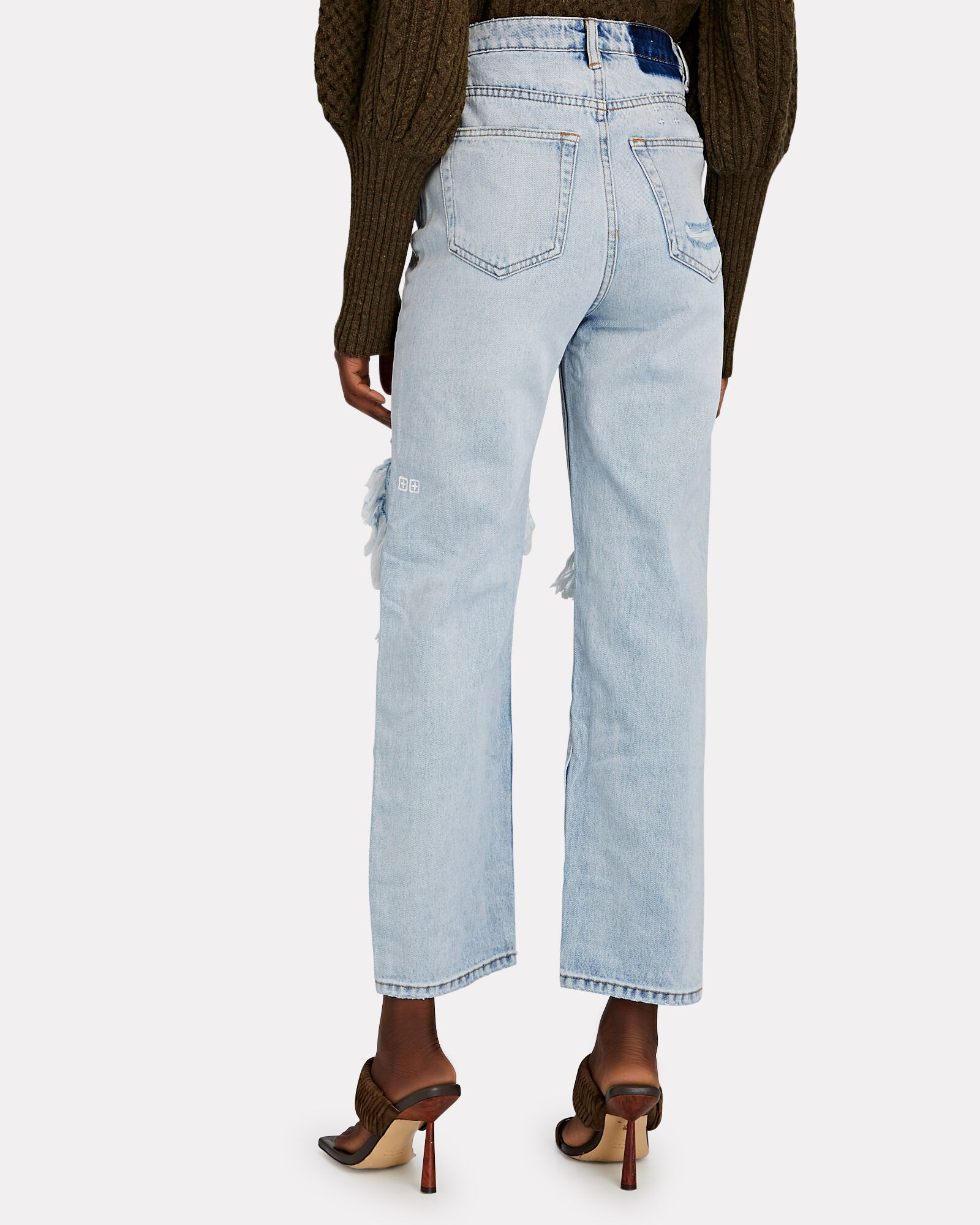 Brooklyn Distressed Straight-Leg Jeans, MUSE, hi-res