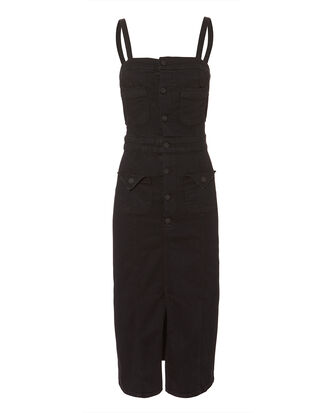 Point Denim Midi Dress, BLACK, hi-res