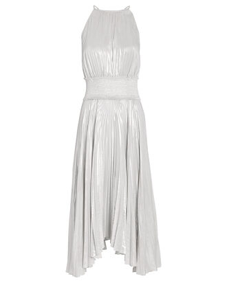 Weston Pleated Lamé Sleeveless Dress, SILVER, hi-res