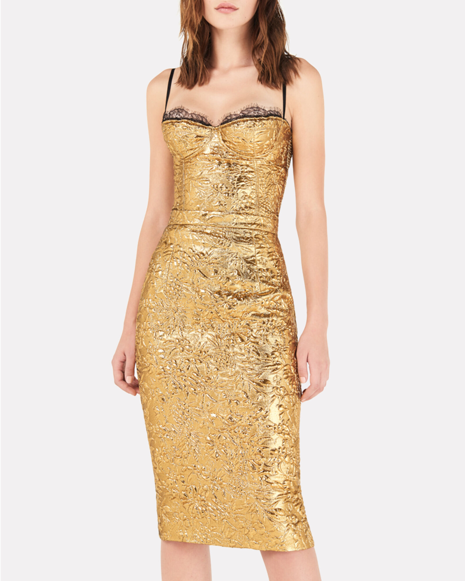 Metallic Floral Midi Skirt, GOLD, hi-res