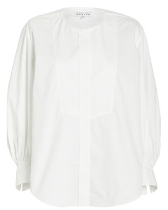 Drake Balloon Sleeve Poplin Shirt, WHITE, hi-res