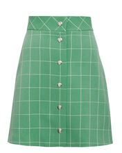 Green Wide Check Mini Skirt, GREEN, hi-res