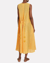 Cotton Eyelet Midi Dress, MUSTARD, hi-res