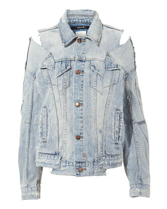 Sliced Oversized Denim Jacket, DENIM-LT, hi-res