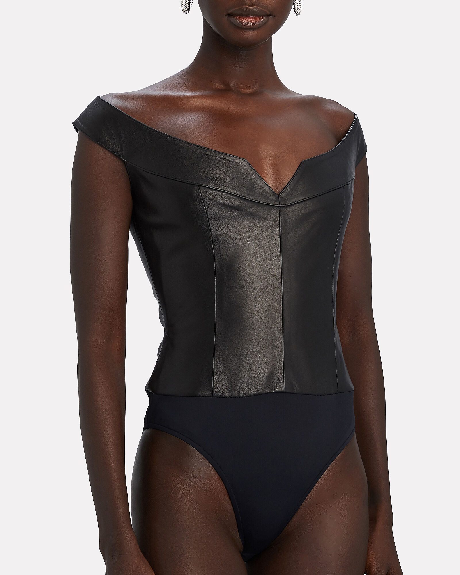 Princess Leather Bodysuit, BLACK, hi-res