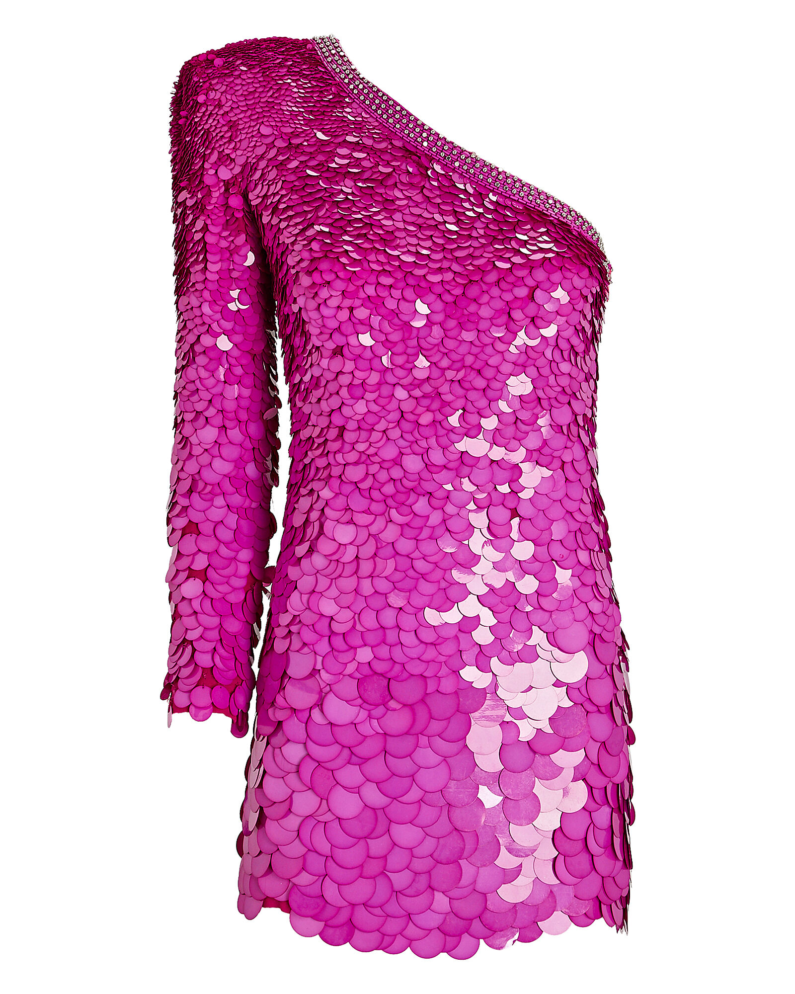 Sequined One-Shoulder Mini Dress, PURPLE, hi-res