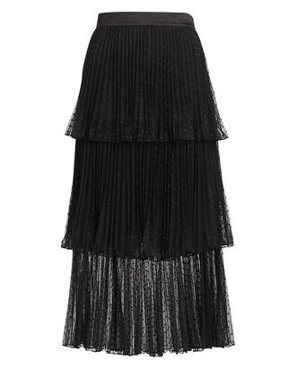 Edith Ruffled Tulle Midi Skirt, BLACK, hi-res