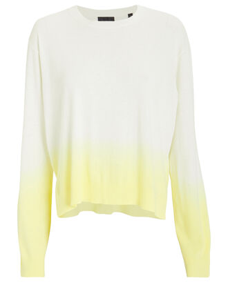 Boxy Dip Dye Crew Sweater, YELLOW, hi-res