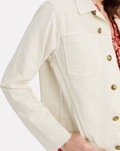 Janelle Cropped Denim Jacket, IVORY, hi-res