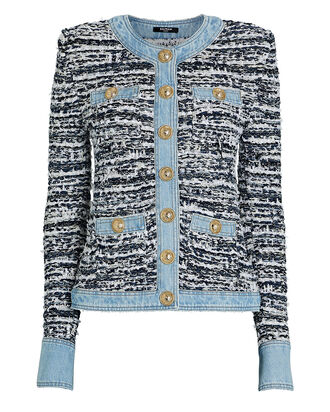 Denim-Trimmed Bouclé Jacket, BLUE, hi-res