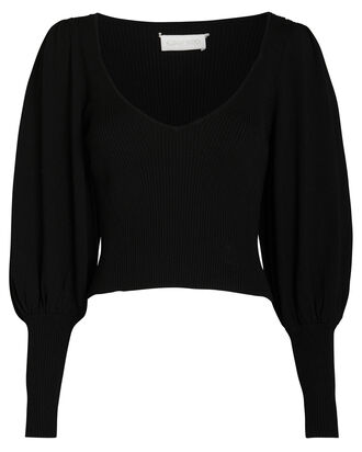 Tegan Balloon Sleeve Sweater, BLACK, hi-res
