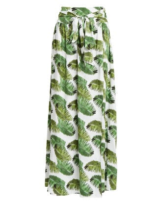 Elsa Palm-Printed Crepe Skirt, PALM PRINT, hi-res