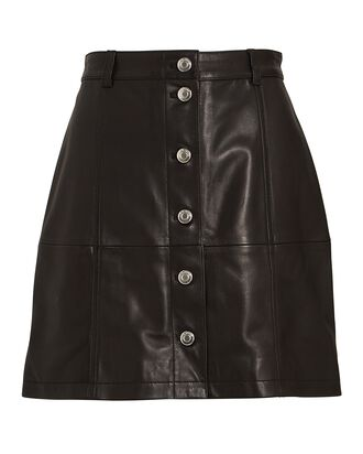 Leather Button-Front Mini Skirt, BLACK, hi-res