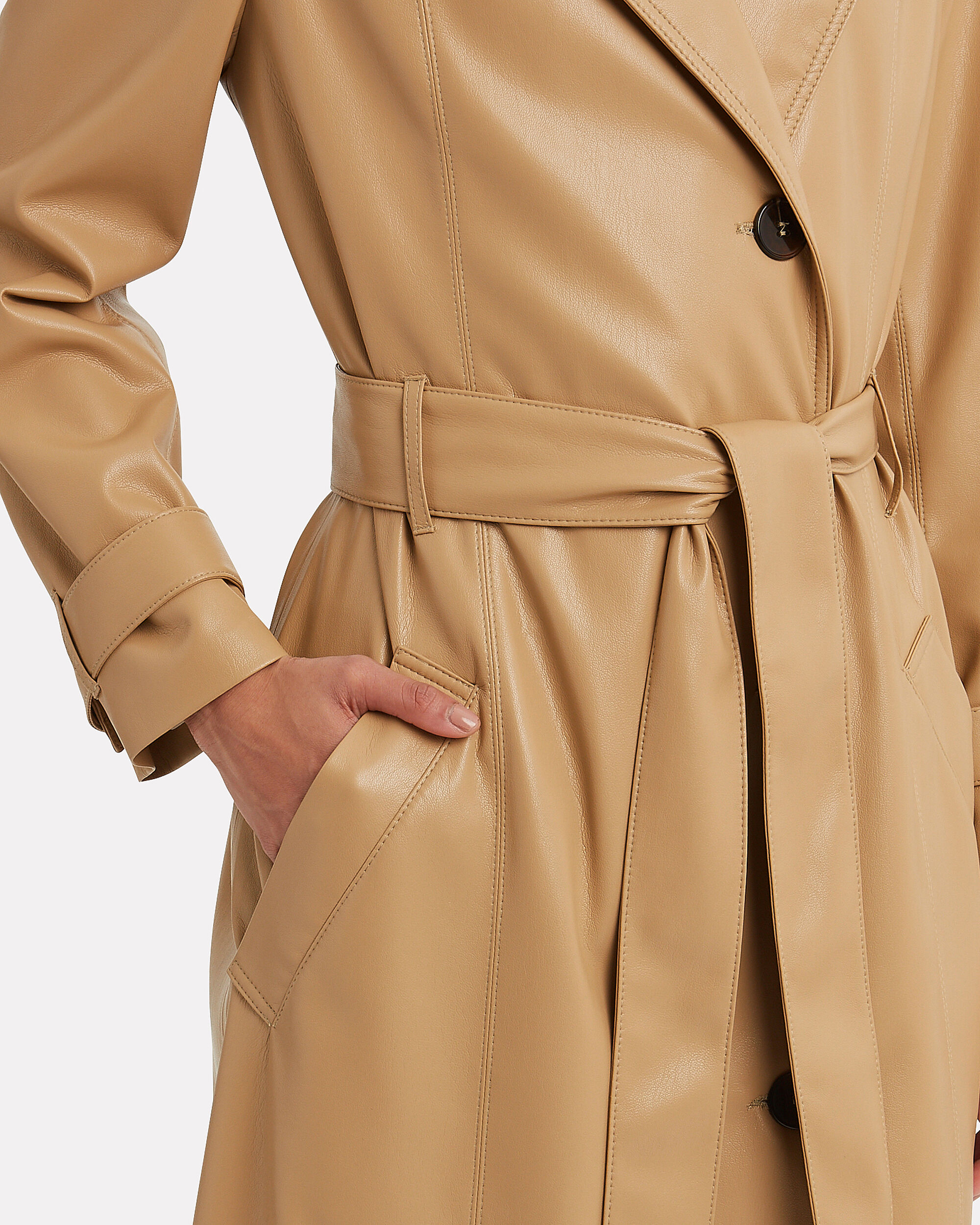 Chiara Vegan Leather Trench Coat, BEIGE, hi-res