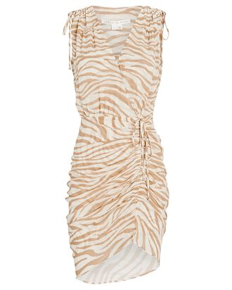 Soheyla Ruched Zebra Mini Dress, IVORY/TAN, hi-res