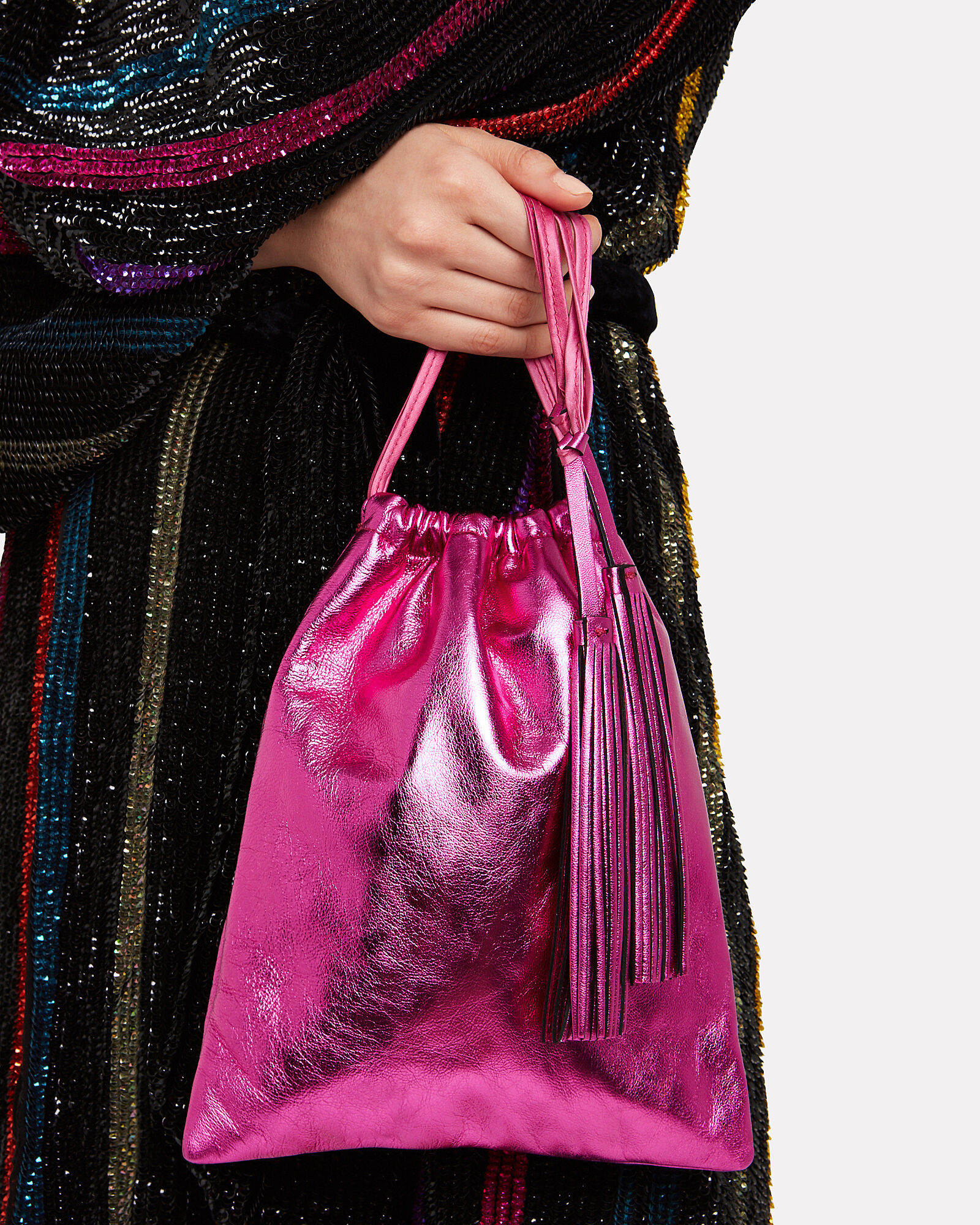 Drawstring Leather Clutch, PINK-DRK, hi-res