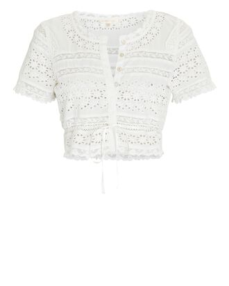 Farley Lace Crop Top, WHITE, hi-res