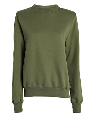 Crewneck Padded Shoulder Sweatshirt, OLIVE, hi-res