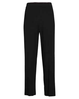 Cropped Rib Knit Pants, BLACK, hi-res