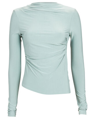 Selma Ruched High Neck Top, GREEN-LT, hi-res