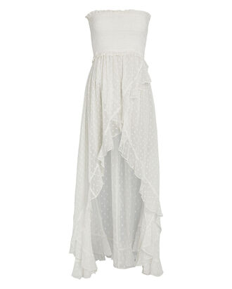 Selene Strapless Swiss Dot Dress, WHITE, hi-res
