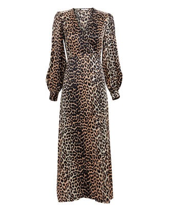 Leopard Print Satin Wrap Dress, BROWN/BLACK, hi-res