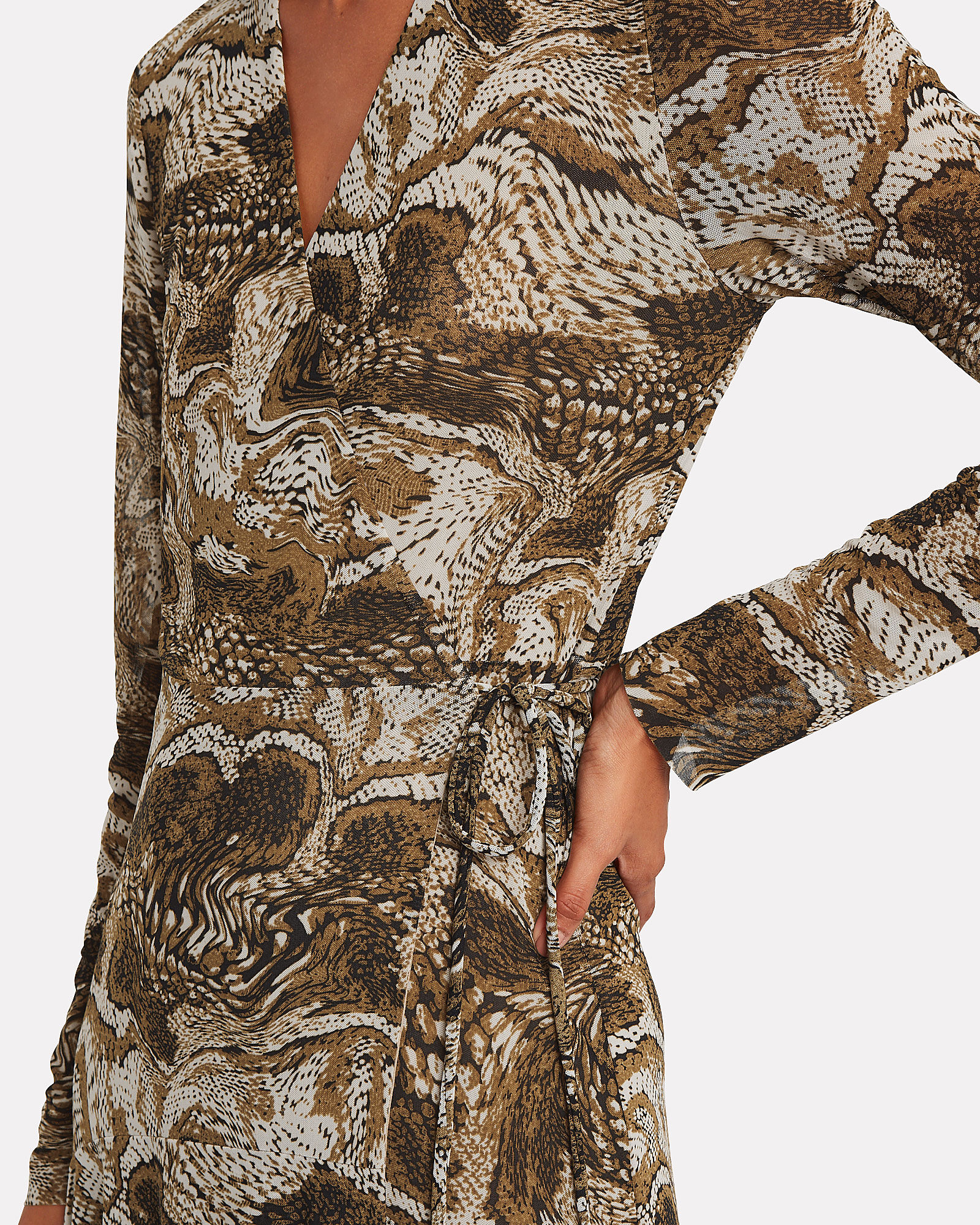 Marble Print Mesh Wrap Dress, BROWN/MARBLE PRINT, hi-res