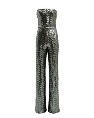 Carleen Sequin Jumpsuit, SILVER, hi-res