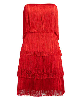Rosmund Fringe Dress, RED, hi-res