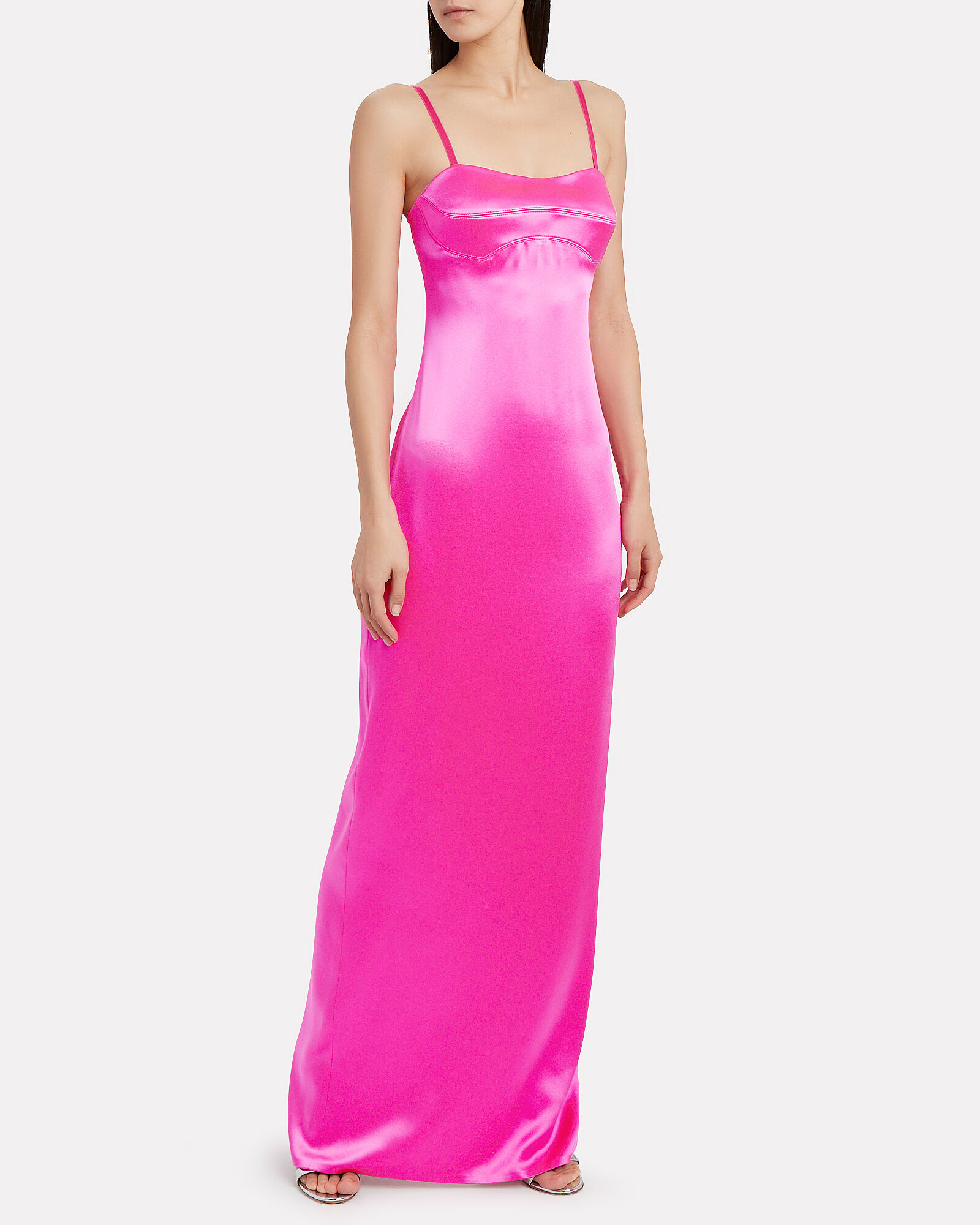 Bustier Satin Column Gown, HOT PINK, hi-res