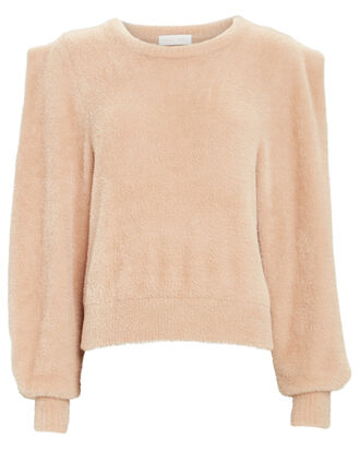 Carina Puff Sleeve Fuzzy Sweater, IVORY, hi-res