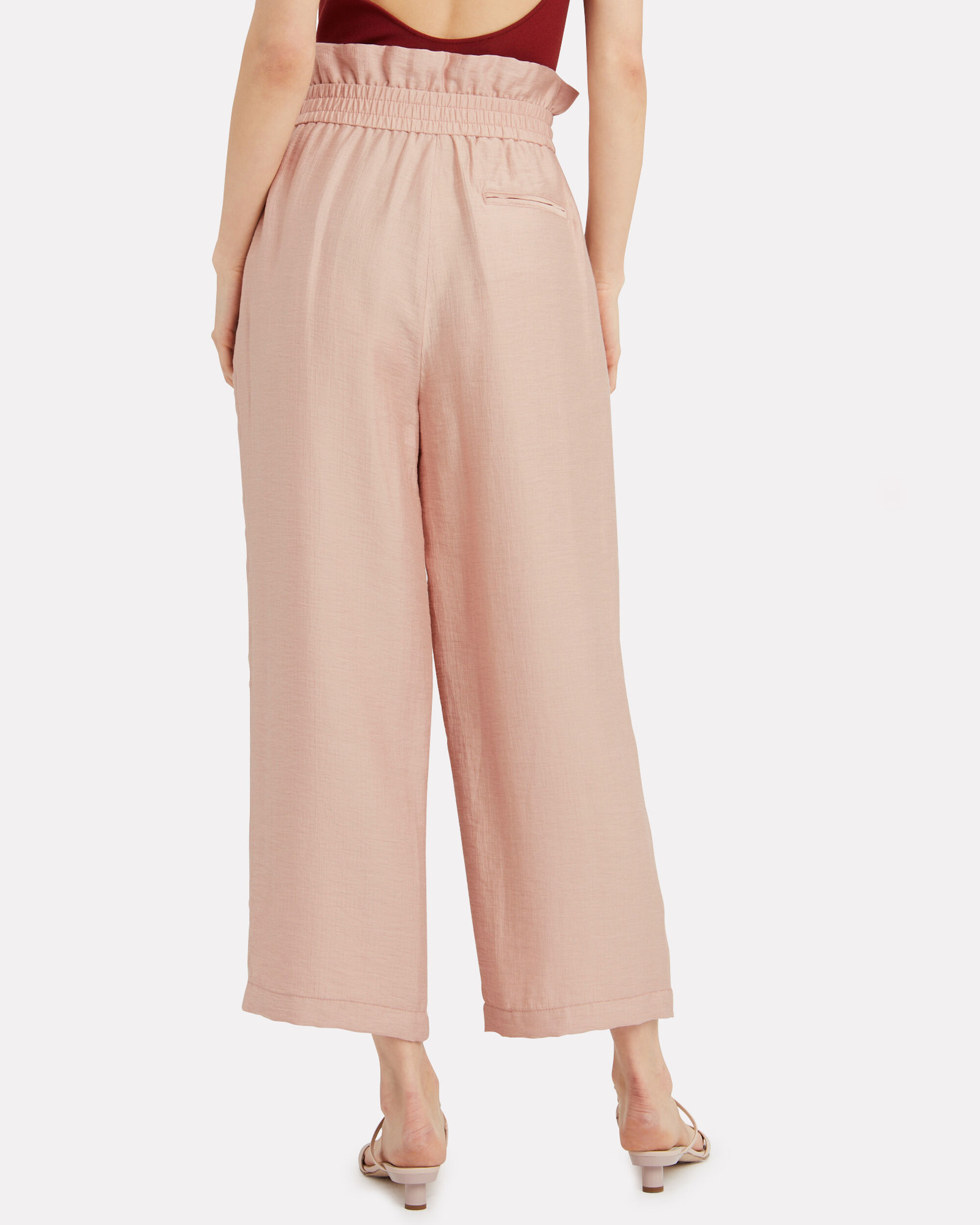 Crepe Paperbag Pants, BLUSH, hi-res