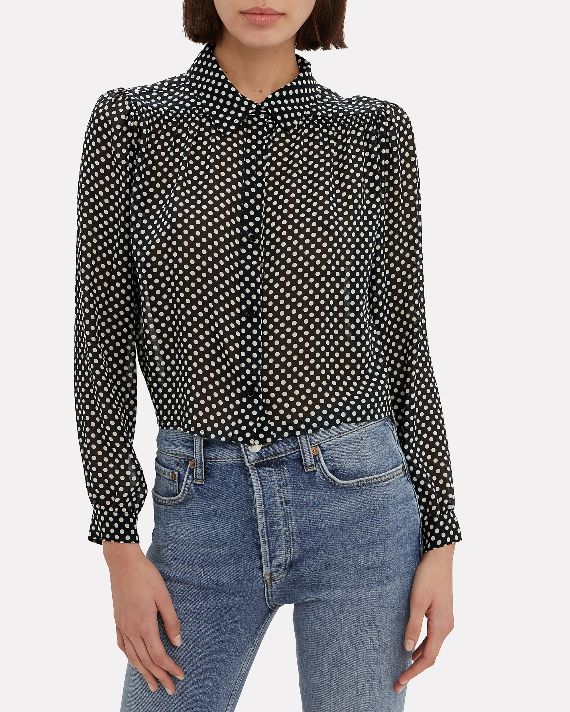 60's Polka Dot Blouse, BLACK/WHITE, hi-res