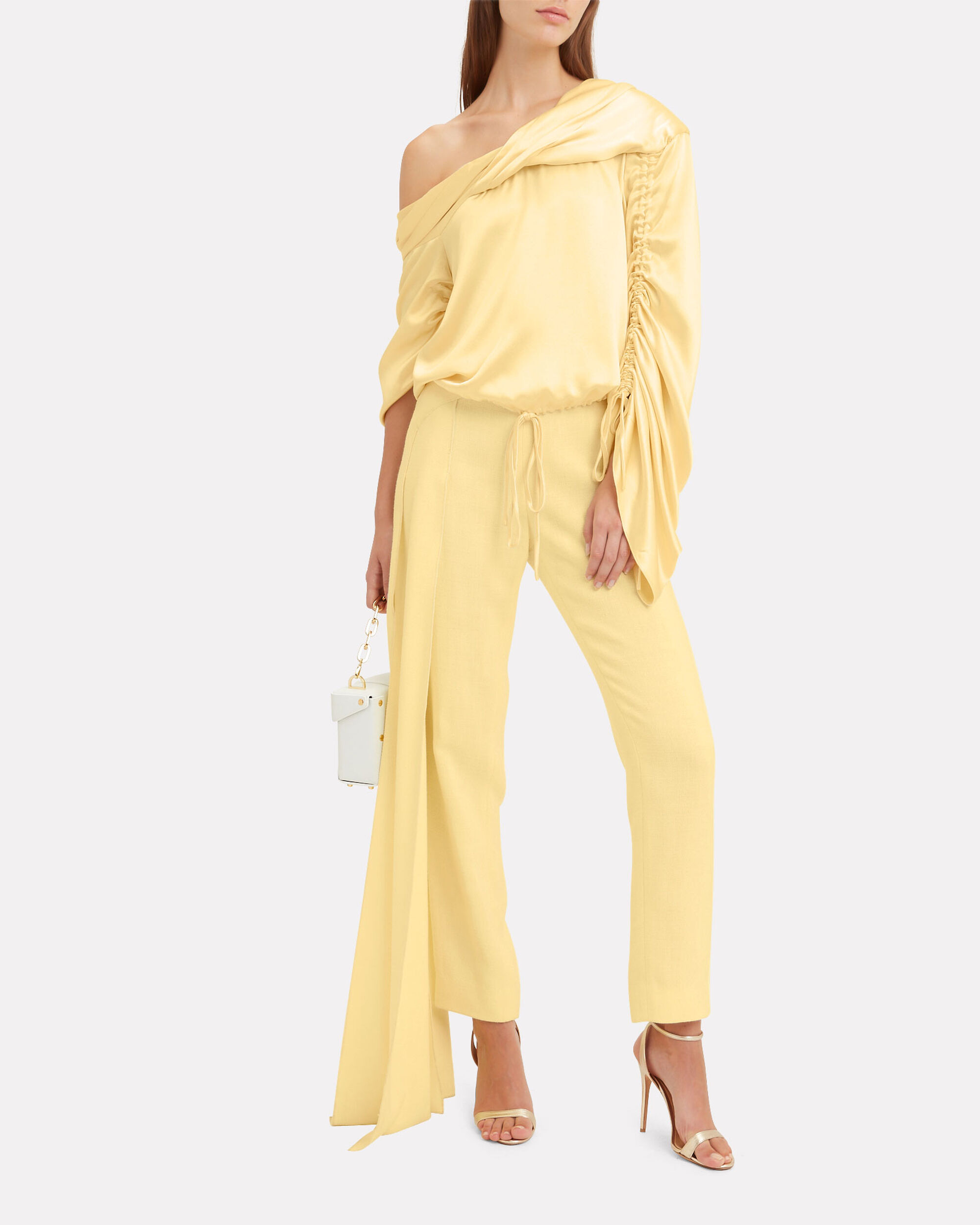 Sunshine Asymmetrical Silk Top, YELLOW, hi-res