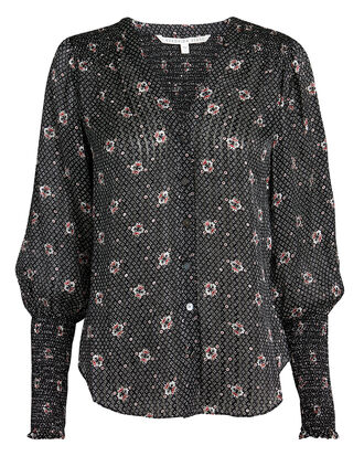 Maree Smocked Accent Blouse, BLACK/WHITE/RED, hi-res