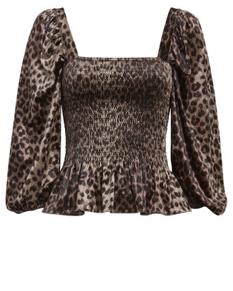 Adelina Smocked Leopard Satin Top, BEIGE/BLACK, hi-res