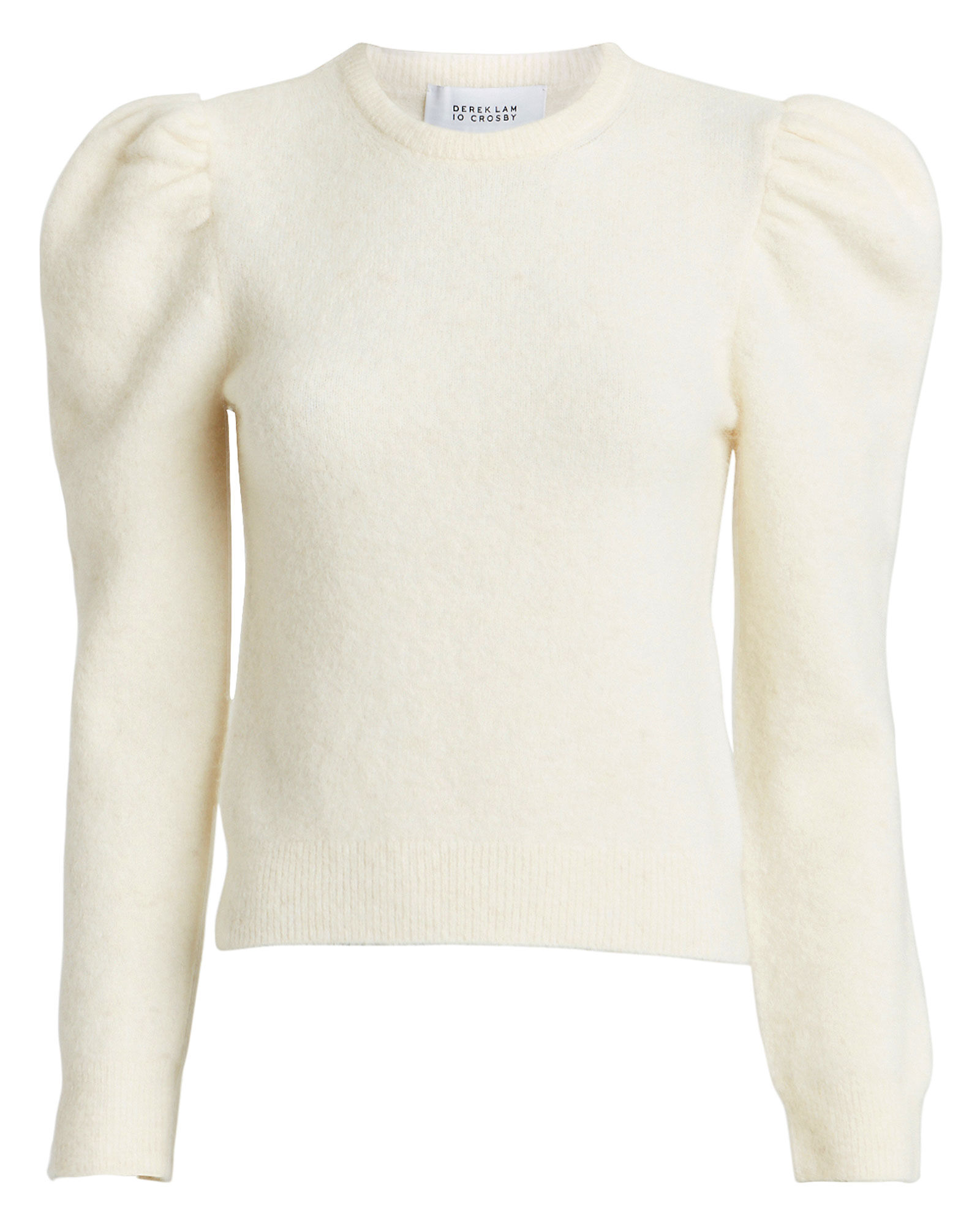 Alpaca-Blend Puff Sleeve Sweater, WHITE, hi-res