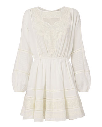 Noelle Embroidered Mini Dress, IVORY, hi-res