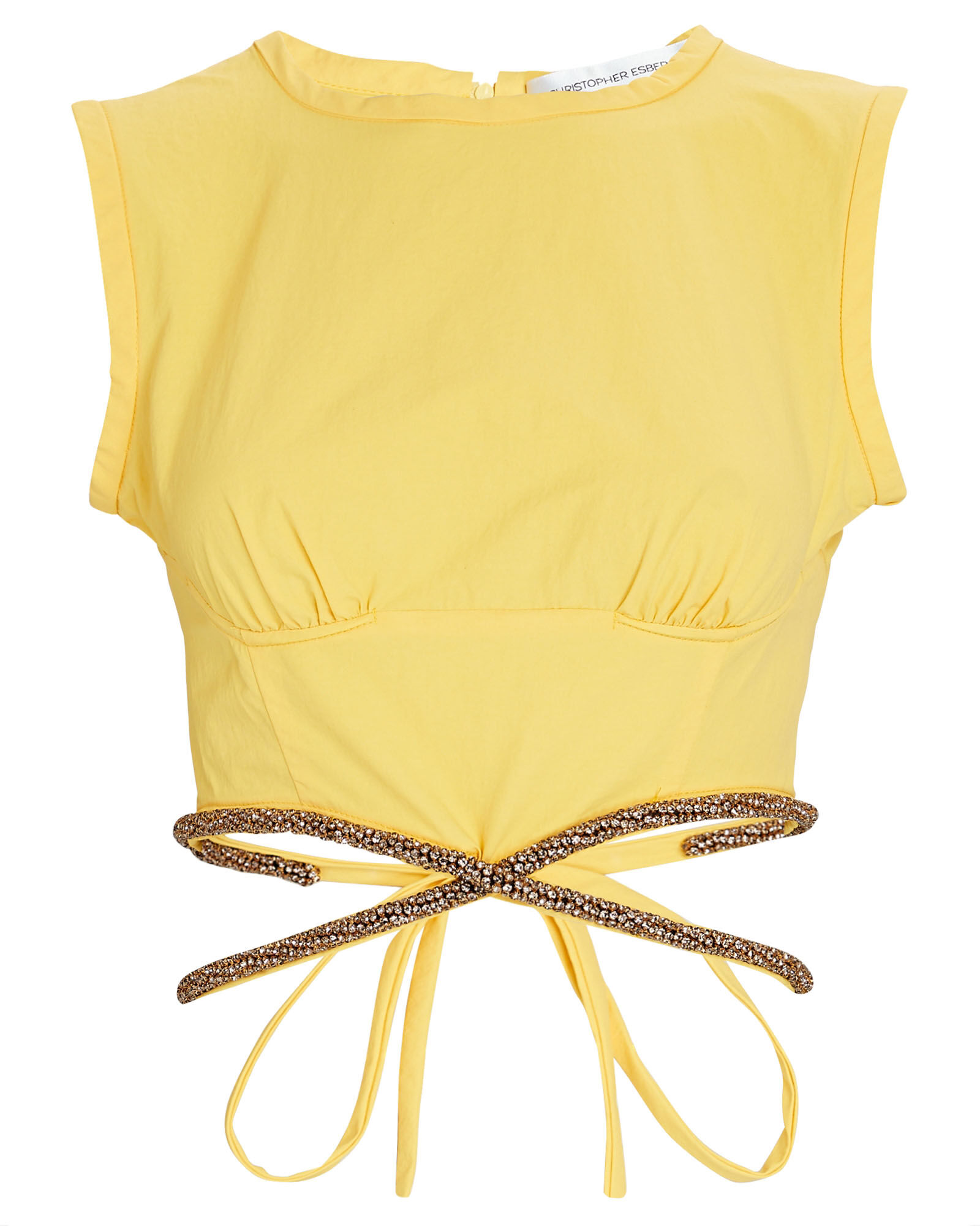 Crystal Embellished Tie-Waist Crop Top, YELLOW, hi-res