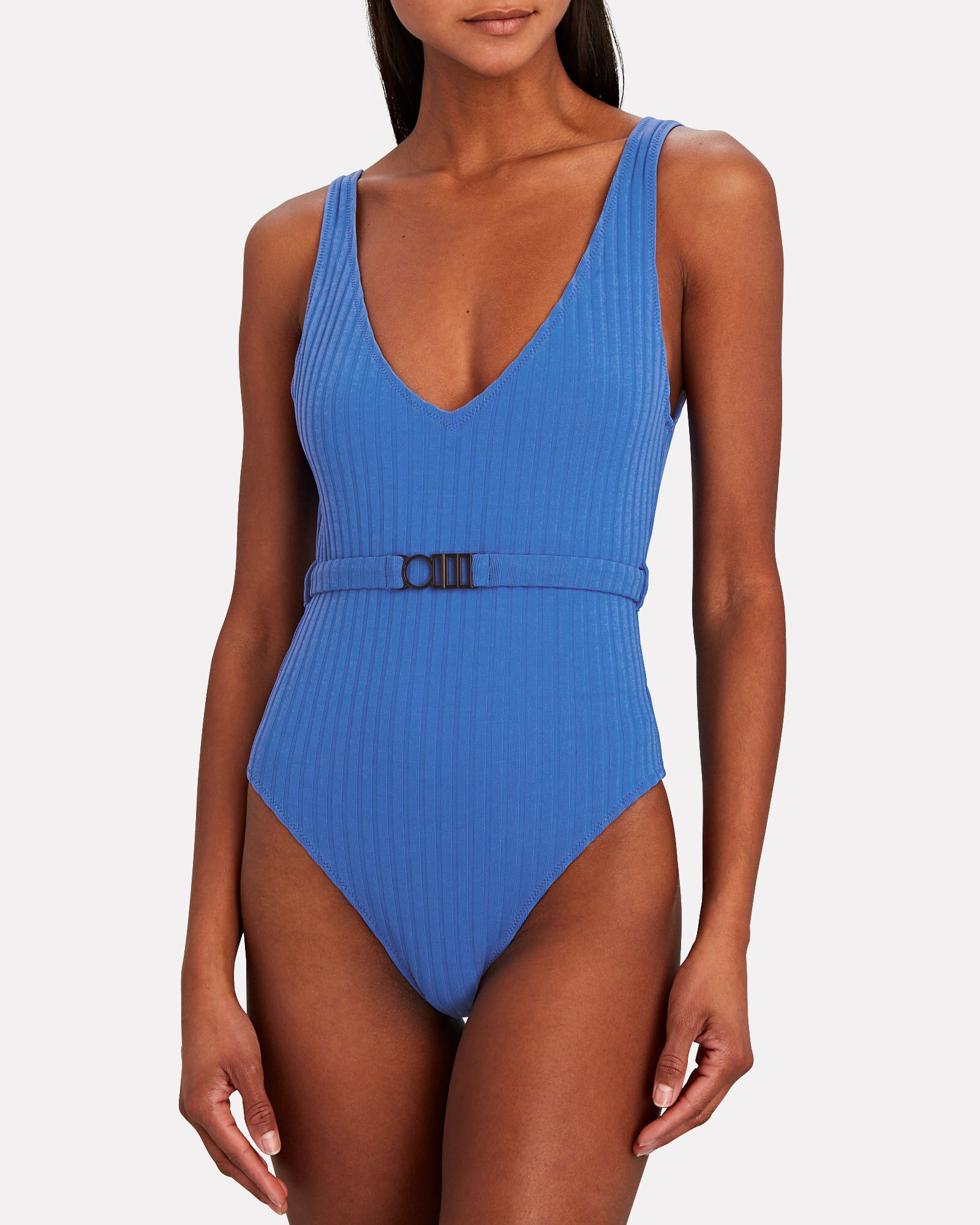 Michelle Belted One-Piece Swimsuit, BLUE, hi-res