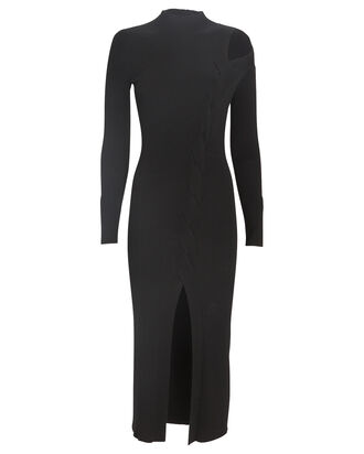 Aurora Cable Knit Midi Dress, BLACK, hi-res