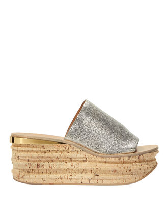 Camille Metallic Wedge Slides, SILVER, hi-res