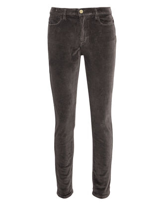 Velvet High Skinny Charcoal Pants, GREY, hi-res
