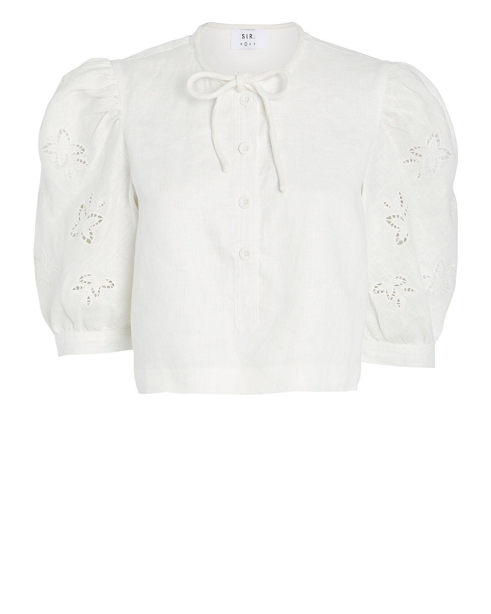 Alena Puff Sleeve Linen Top, WHITE, hi-res