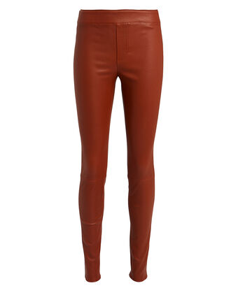Lambskin Leather Leggings, TOBACCO, hi-res