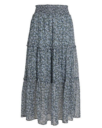 Anastasiya Tiered Midi Skirt, BLACK/LIGHT BLUE, hi-res