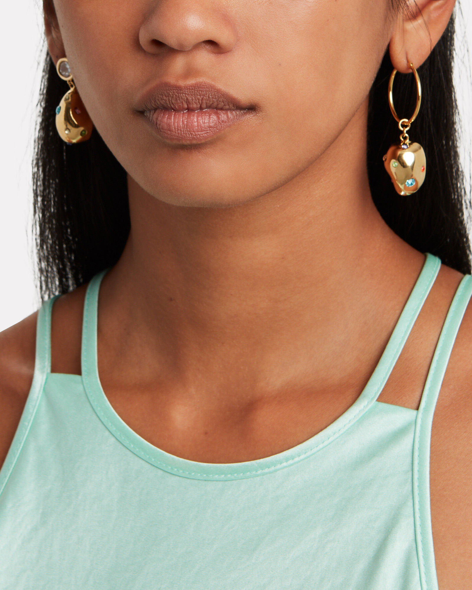Atomic Crystal-Accented Drop Earrings, GOLD, hi-res